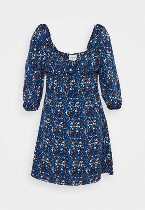 MINI DRESS RUCHED SWEETHEART NECKLINE  - Vapaa-ajan mekko - navy blue/orange