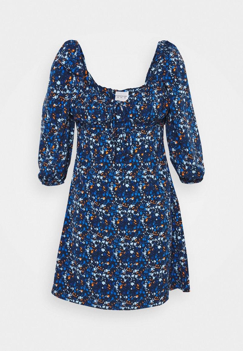 Glamorous - MINI DRESS RUCHED SWEETHEART NECKLINE  - Day dress - navy blue/orange