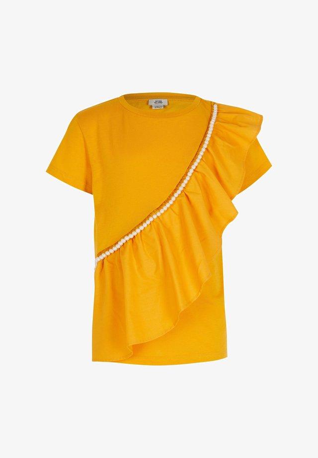 ASYMMETRIC FRILL T-SHIRT - Basic T-shirt - yellow