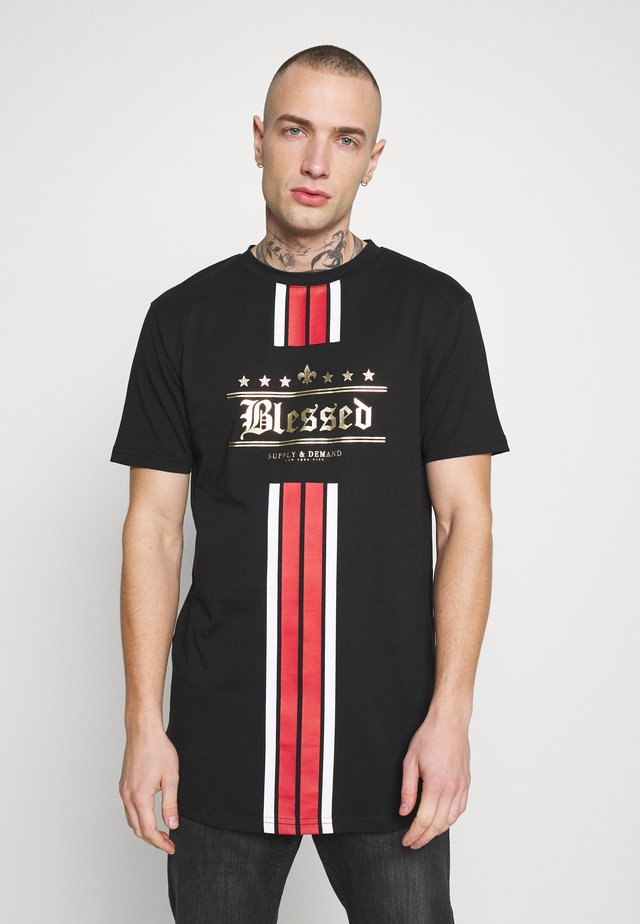STRIP WITH CHEST PRINT - Print T-shirt - black/red