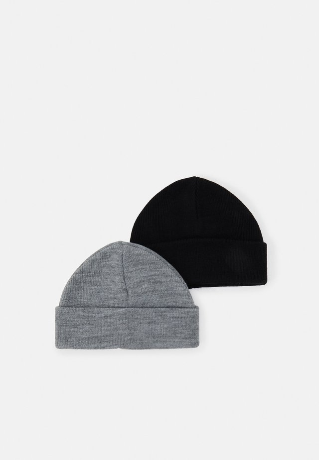 2 PACK SHORT BEANIE - Czapka - black/light grey