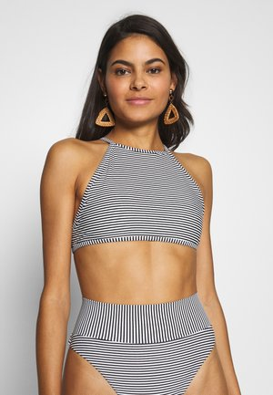 CROP BASIC FEEDER STRIPE - Bikini top - true black