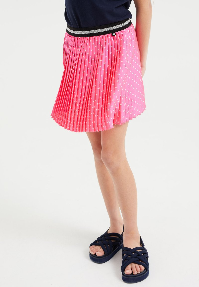 WE Fashion - MET STIPPEN EN GLITTERDETAILS - A-lijn rok - bright pink