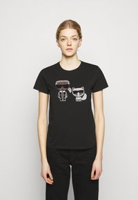 KARL LAGERFELD - IKONIK RHINESTONE  - Print T-shirt - black - 0