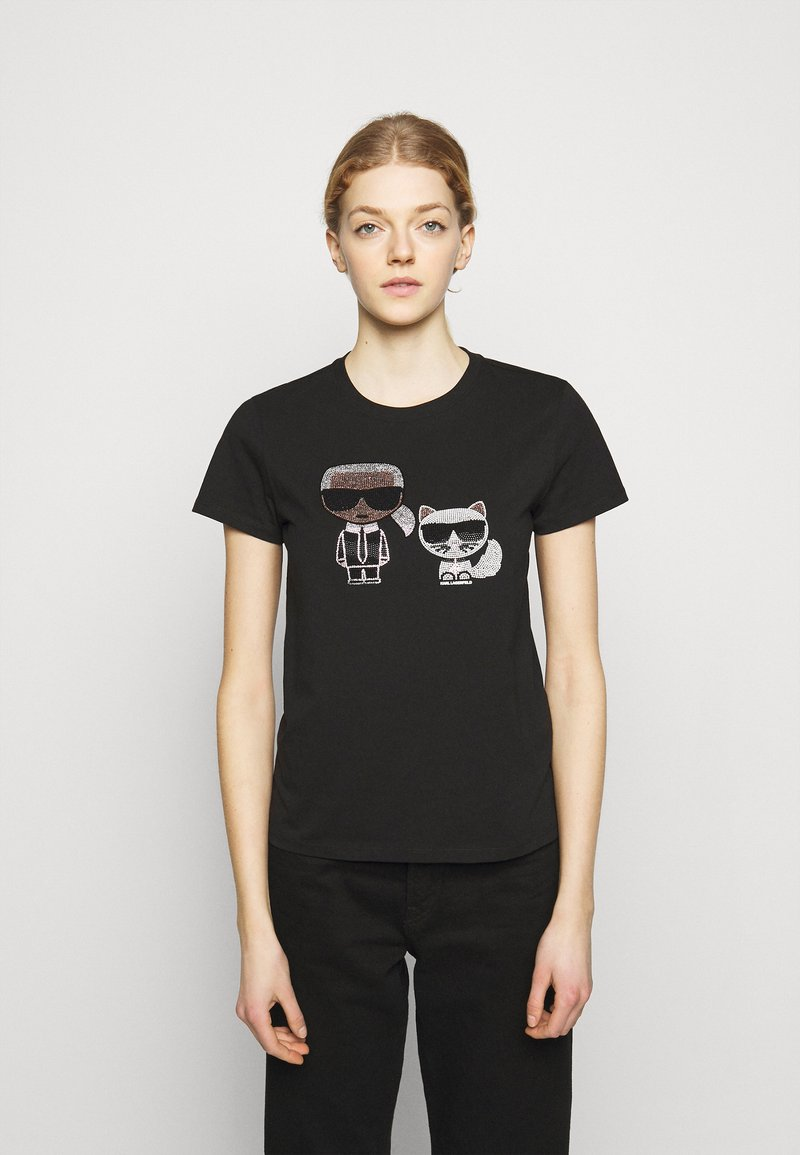 KARL LAGERFELD - IKONIK RHINESTONE  - Print T-shirt - black