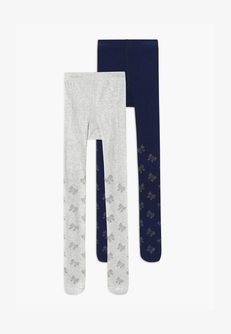 Ewers - GLITTER 2 PACK - Tights - grey/navy