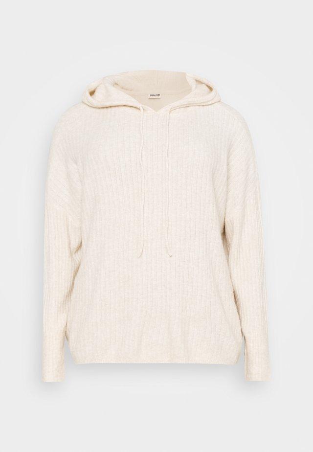 NMALLY HOODIE - Stickad tröja - offwhite melange