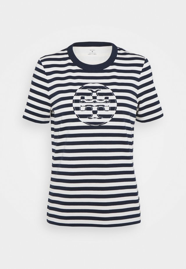 STRIPED LOGO  - T-shirt con stampa - navy