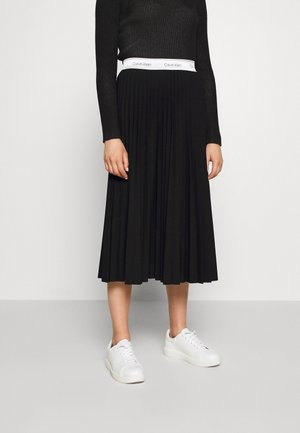 STRETCH PLEAT MIDI SKIRT - A-lijn rok - ck black