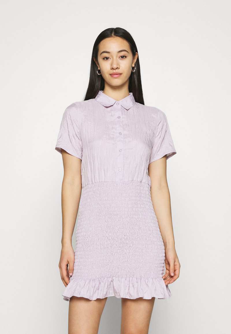 Missguided - BUTTON DOWN SHIRRED SHIRT DRESS - Shirt dress - lilac