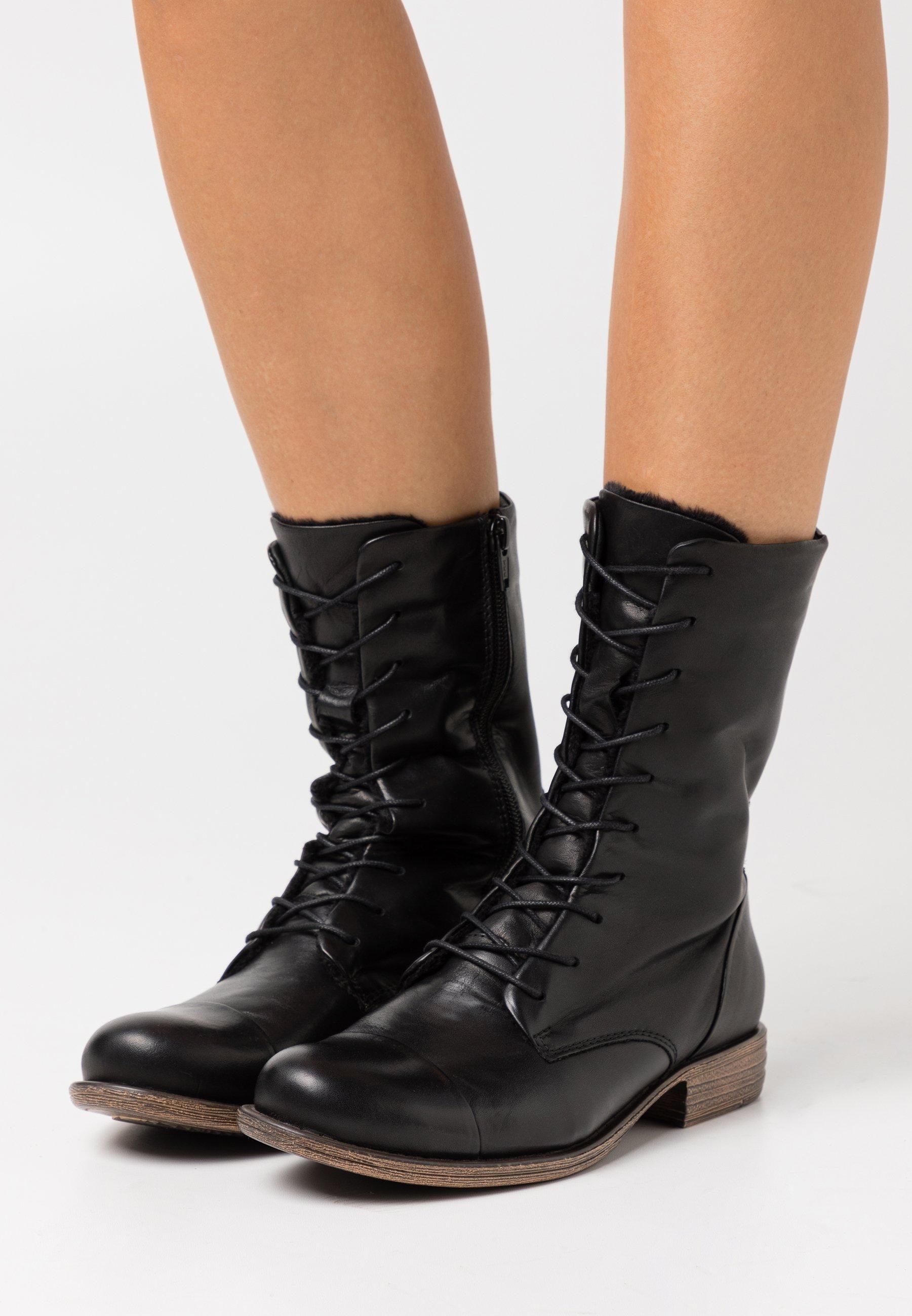 Femme LEATHER - Bottes à lacets - black