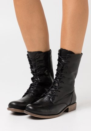 LEATHER - Lace-up boots - black