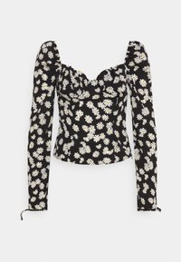 Missguided Tall - TIE CUFF MILKMAID - Long sleeved top - black - 0