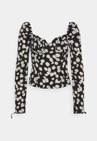 TIE CUFF MILKMAID - Long sleeved top - black