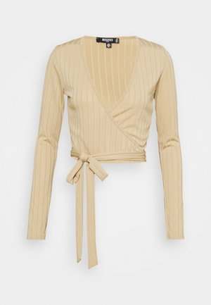 WRAP FRONT TIE WAIST CROP - Long sleeved top - sand