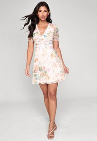 PRINTED BRODERIE  - Day dress - nude