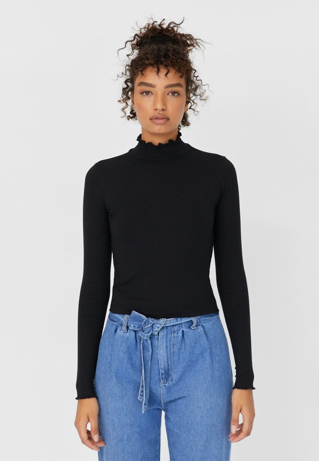 MIT GESMOKTEM KRAGEN - T-shirt à manches longues - black