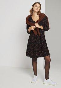 TOM TAILOR DENIM - Day dress - black rust flower print - 1