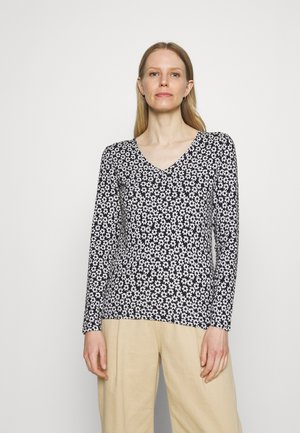 FITTED FLORA - Long sleeved top - dark blue