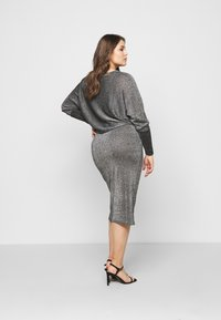 CAPSULE by Simply Be - METALLIC DRESS - Day dress - black/silver-coloured - 2
