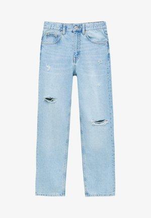 MIT GUMMIZUG  - Straight leg jeans - light blue