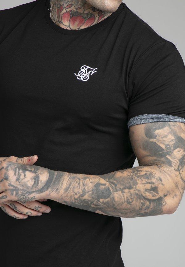SIKSILK SPACE DYE ROLL SLEEVE TEE - T-shirt basic - black/grey/czarny Odzież Męska GSRF