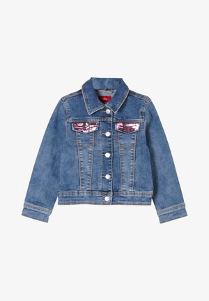 MIT PAILLETTEN-DETAILS - Denim jacket - blue