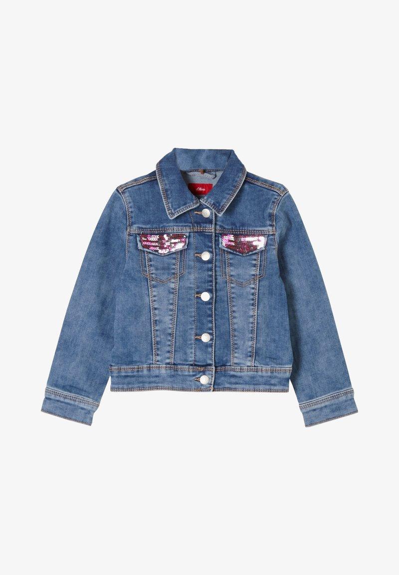 s.Oliver - MIT PAILLETTEN-DETAILS - Denim jacket - blue
