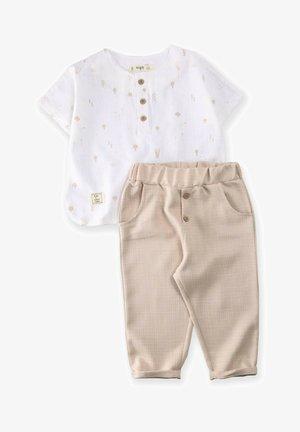 SET - Trousers - beige/white