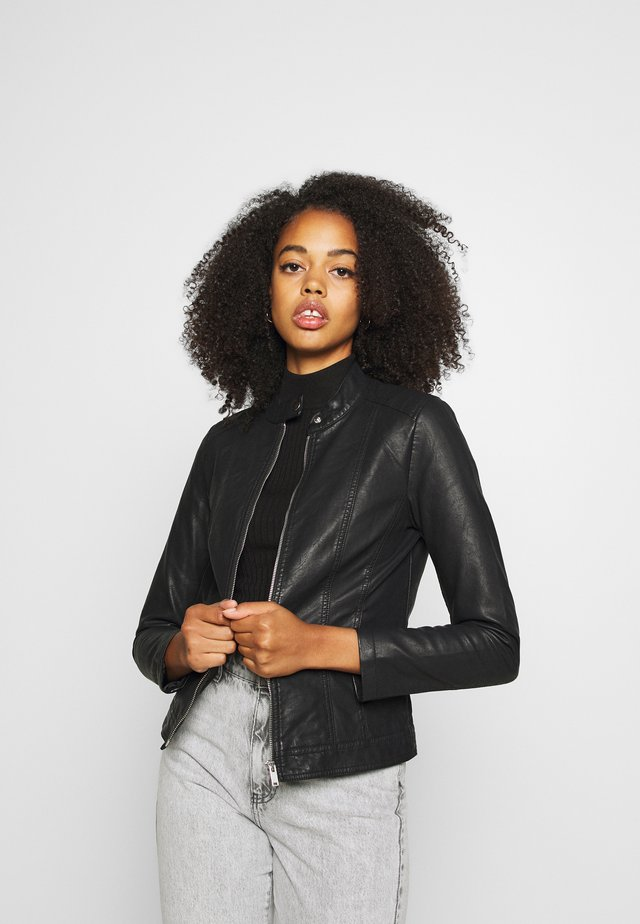 JDYSTORMY - Faux leather jacket - black