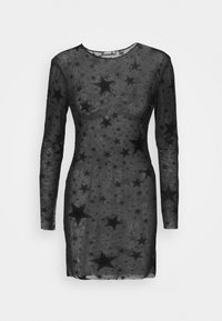 Missguided - HALLOWEEN STAR FLOCKED BODYCON DRESS - Shift dress - black - 3