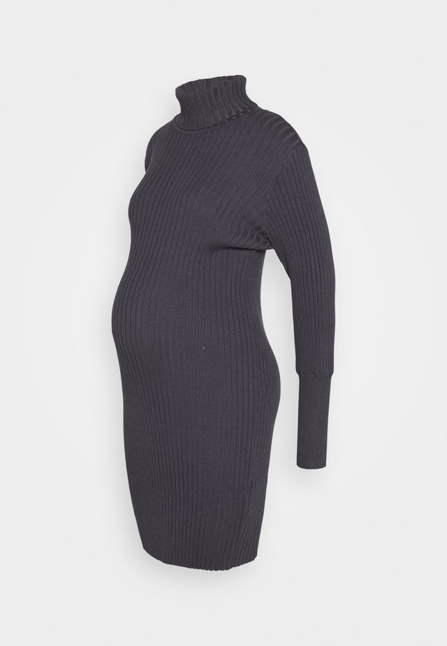 ROLL NECK DRESS - Vestito di maglina - charcoal