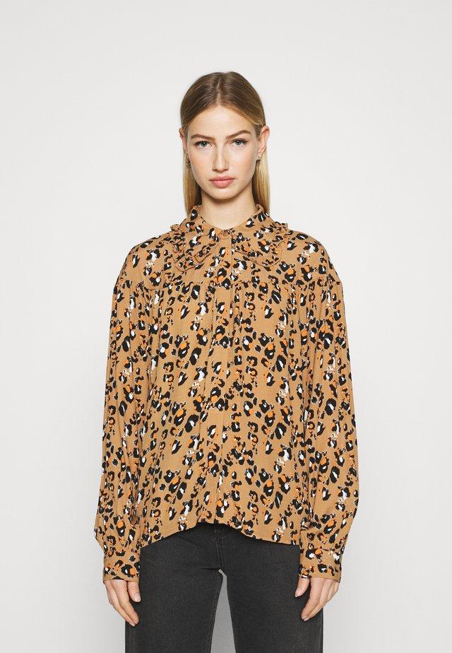VIKITTIE - Button-down blouse - tigers eye/black/paloma/adobe