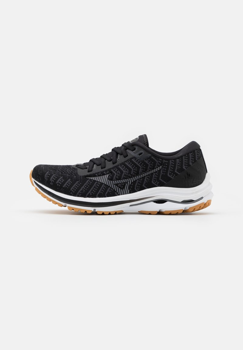 Mizuno - WAVE RIDER 24 WAVEKNIT - Neutral running shoes - black/dark shadow/biscuit