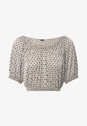 PLEATED POLKA DOT SHORT TOP - Blus - beige