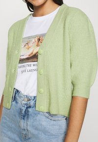 Monki - PUFFY CARDIGAN - Cardigan - green dusty light - 4