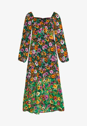 THE PUFFSLEEVE MIDI DRESS - Vestido largo - green/multi