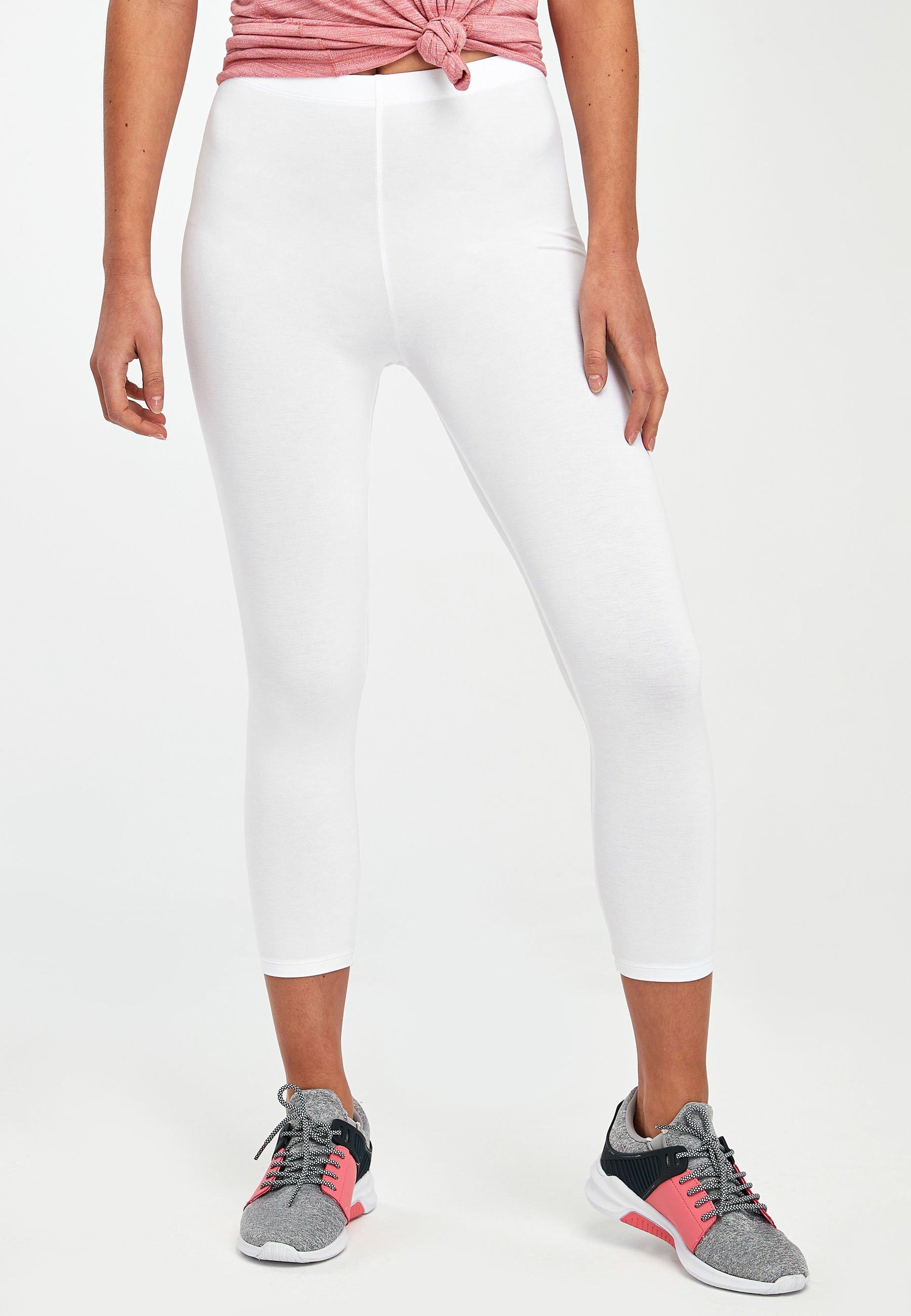 Damer WHITE CROPPED LEGGINGS - Leggings