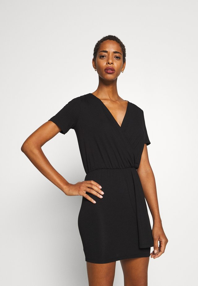 BASIC - SHORT SLEEVES DEEP V PLAYSUIT - Jumpsuit - black
