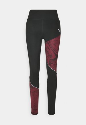 RUN GRAPHIC - Leggings - black/burgundy