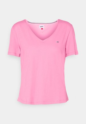 SLIM VNECK - Basic T-shirt - pink daisy