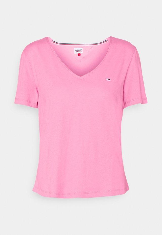 SLIM VNECK - Jednoduché triko - pink daisy