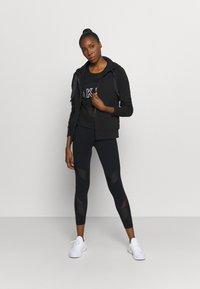 DKNY - TWO TONE LOGO ZIP FRONT - Zip-up sweatshirt - black - 1