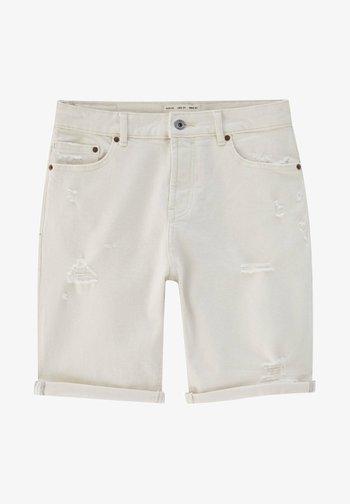 SLIM-FIT  - Jeansshorts - mottled beige