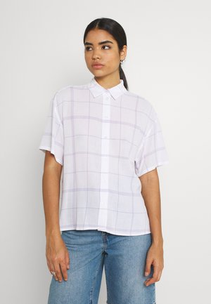 URI SHIRT - Button-down blouse - whith/purple