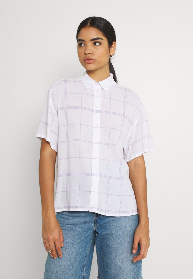 Weekday - URI SHIRT - Button-down blouse - whith/purple