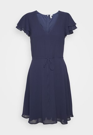 DOUBLE FLOUNCE SLEEVE DRESS - Cocktailkjoler / festkjoler - navy