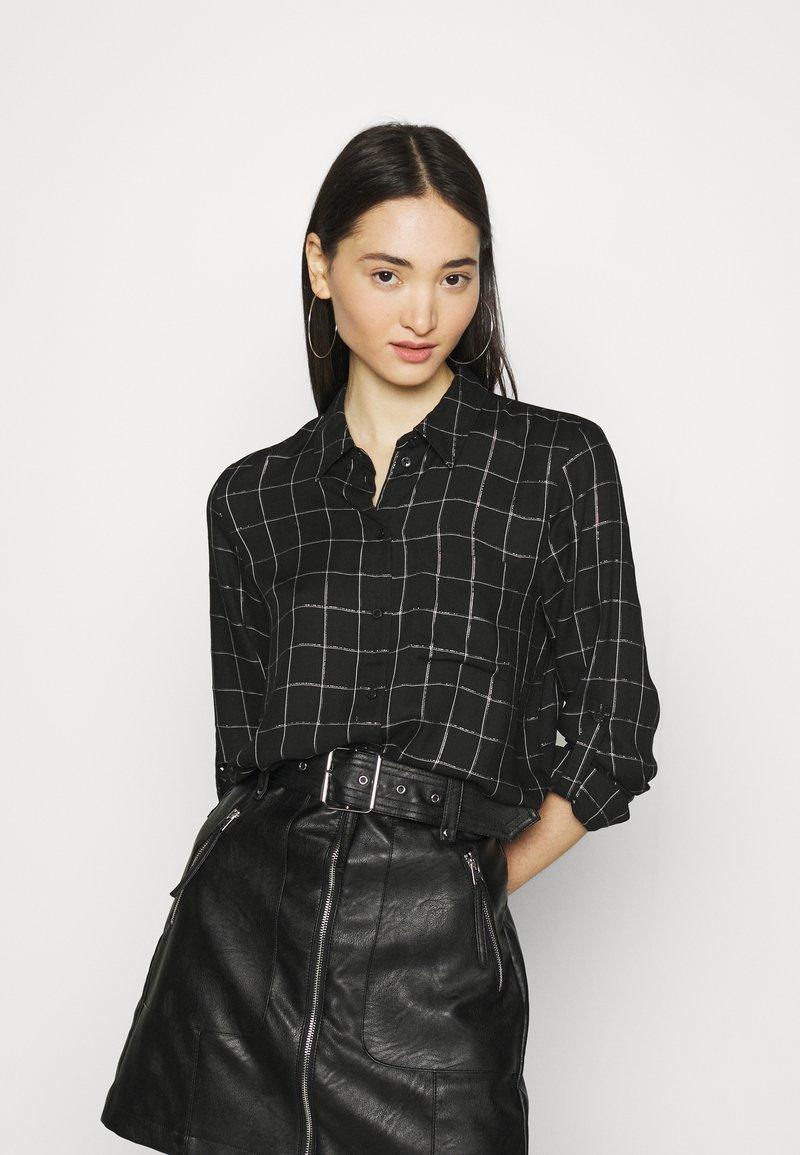 ONLY - ONLANNALIE - Button-down blouse - black/white