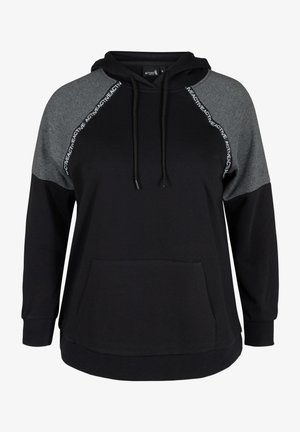 MED HÆTTE OG LOMME - Sweater - black