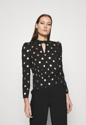 SPOT BANDED HEM TOP - Long sleeved top - black